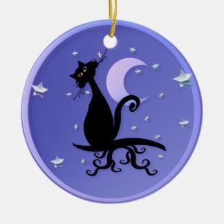 Ornamentos de medianoche del gatito ornamentos de reyes