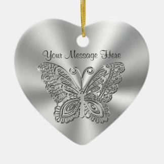 Ornamentos de plata de encaje personalizados de la adorno navideño de cerámica en forma de corazón