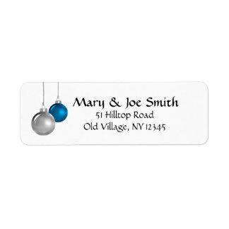Ornamentos de plata y azules etiqueta de remitente