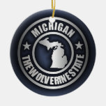 "Ornamentos decorativos de acero de ""Michigan"" Adorno Navideño Redondo De Cerámica"
