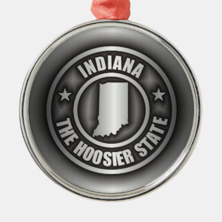 """""""Ornamentos del acero de Indiana"""" Adorno Redondo Plateado"""