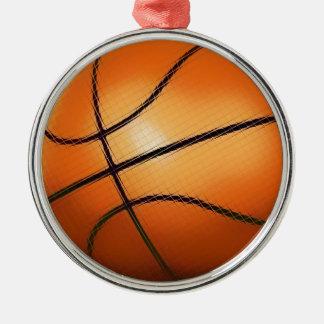 Ornamentos del árbol de navidad del baloncesto del adorno redondo plateado