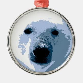 Ornamentos del árbol de navidad del oso polar adorno navideño redondo de metal