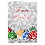 Ornamentos del árbol de navidad en tarjeta del fon