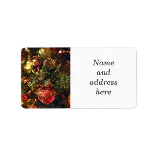 Ornamentos del árbol de navidad etiquetas de dirección