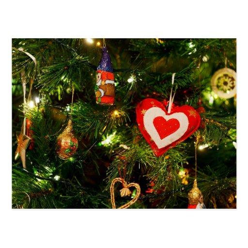 Ornamentos del árbol de navidad postal