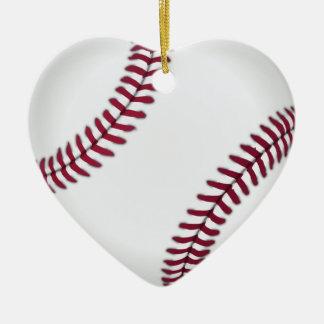 Ornamentos del béisbol adorno navideño de cerámica en forma de corazón