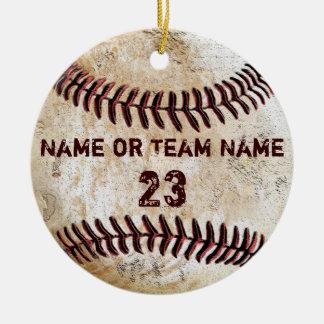 Ornamentos del béisbol del vintage con NOMBRE y Ornamento Para Arbol De Navidad