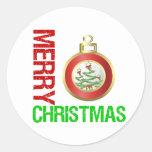 Ornamentos del bulbo de las Felices Navidad Etiqueta Redonda