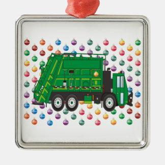 ornamentos del camión de basura adorno cuadrado plateado