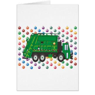 ornamentos del camión de basura tarjeta de felicitación