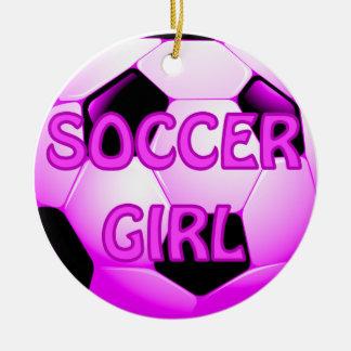 Ornamentos del chica del fútbol adorno navideño redondo de cerámica