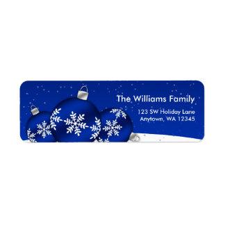 Ornamentos del copo de nieve del navidad azul y bl etiquetas de remite