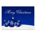 Ornamentos del copo de nieve del navidad azul y bl felicitación
