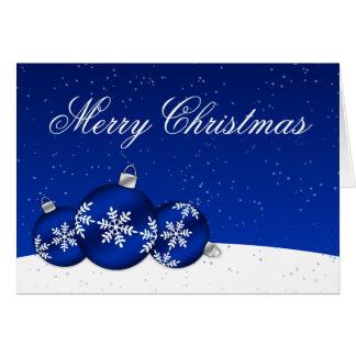 Ornamentos del copo de nieve del navidad azul y bl tarjeta de felicitación