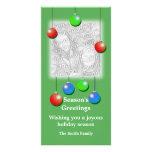 Ornamentos del día de fiesta (altos) tarjeta con foto personalizada