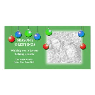 Ornamentos del día de fiesta (anchos) tarjeta personal con foto