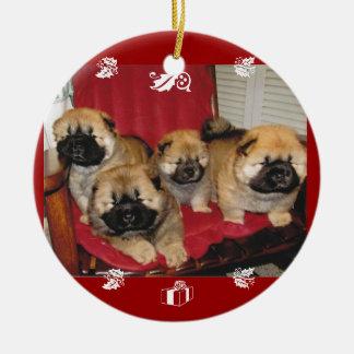 Ornamentos del día de fiesta de Luv del perrito Adorno Navideño Redondo De Cerámica