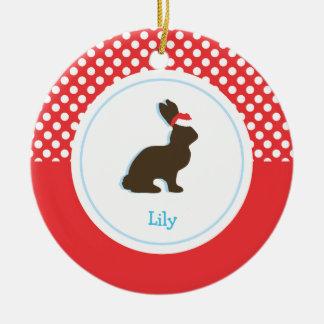 Ornamentos del día de fiesta del conejo el | del adorno redondo de cerámica