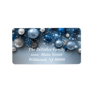 Ornamentos del día de fiesta del navidad - azules etiquetas de dirección