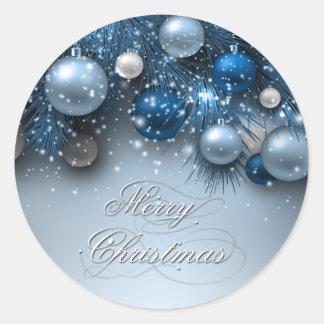 Ornamentos del día de fiesta del navidad - azules pegatina redonda