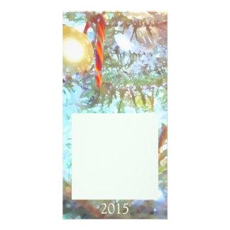 Ornamentos del día de fiesta en la luz tarjetas con fotos personalizadas