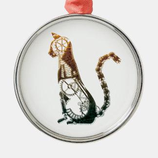 Ornamentos del gato de Steampunk Adorno Navideño Redondo De Metal
