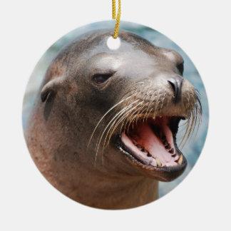 Ornamentos del león marino de California Adorno Redondo De Cerámica