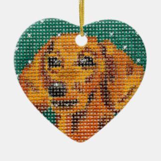 Ornamentos del mascota - Dachshund Adorno De Cerámica En Forma De Corazón