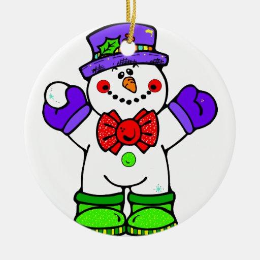 Ornamentos del muñeco de nieve adorno navideño redondo de cerámica