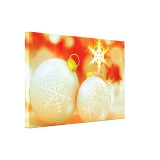 Ornamentos del navidad blanco impresión en lienzo