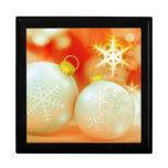 Ornamentos del navidad blanco joyero cuadrado grande