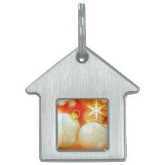 Ornamentos del navidad blanco placas de mascota