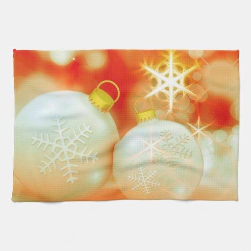 Ornamentos del navidad blanco toallas de mano