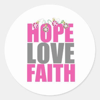 Ornamentos del navidad de la fe del amor de la pegatina redonda