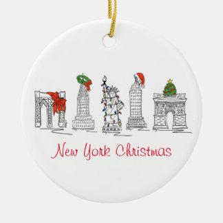 Ornamentos del navidad de Nueva York Adorno Redondo De Cerámica