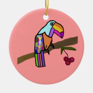 Ornamentos del navidad de Toucan Adorno Navideño Redondo De Cerámica