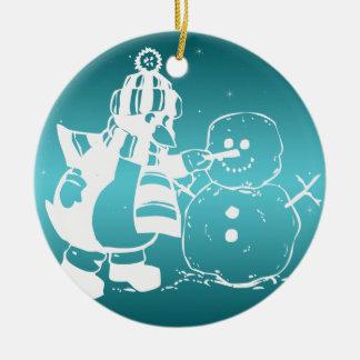 Ornamentos del navidad adorno redondo de cerámica