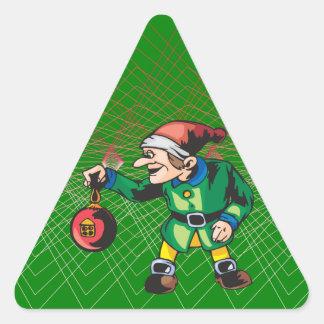 Ornamentos del navidad del amor de los duendes pegatina triangular