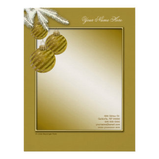 Ornamentos del navidad del brillo del oro membrete