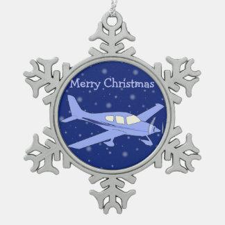Ornamentos del navidad del estaño - aeroplano adorno de peltre en forma de copo de nieve