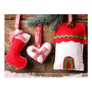 Ornamentos del navidad del fieltro postales
