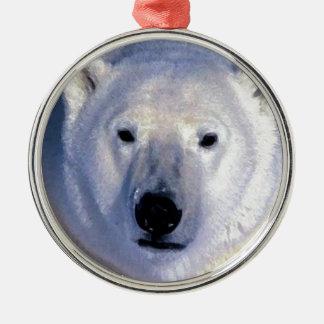 Ornamentos del navidad del oso polar adorno navideño redondo de metal