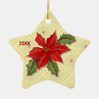 Ornamentos del navidad del Poinsettia Ornamentos De Reyes