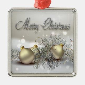 Ornamentos del navidad del reflejo del oro y de la adorno navideño cuadrado de metal