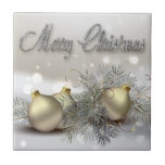 Ornamentos del navidad del reflejo del oro y de la azulejos ceramicos