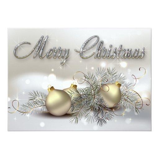 """Ornamentos del navidad del reflejo del oro y de la invitación 5"""" x 7"""""""
