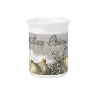 Ornamentos del navidad del reflejo del oro y de la jarras para bebida