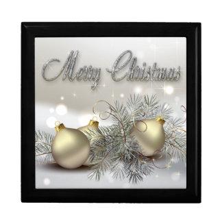 Ornamentos del navidad del reflejo del oro y de la joyero cuadrado grande