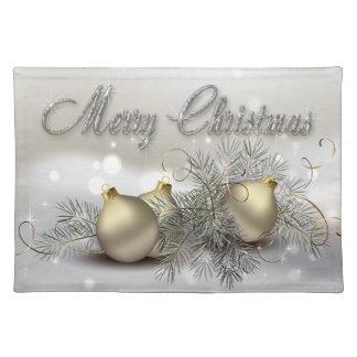 Ornamentos del navidad del reflejo del oro y de la manteles individuales